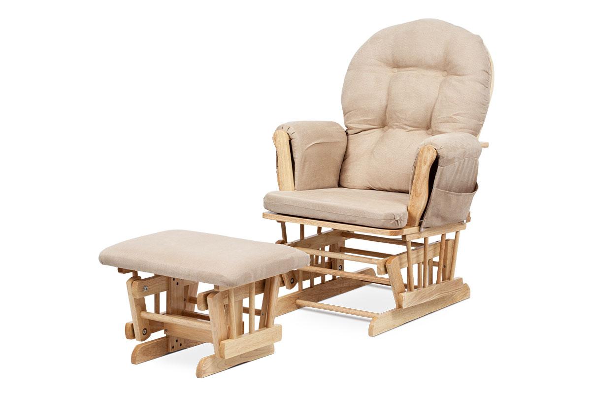 Relaxační / kojící křeslo s houpacím mechanismem (Glider), potah béžová látka, masiv kaučukovník, přírodní moření
