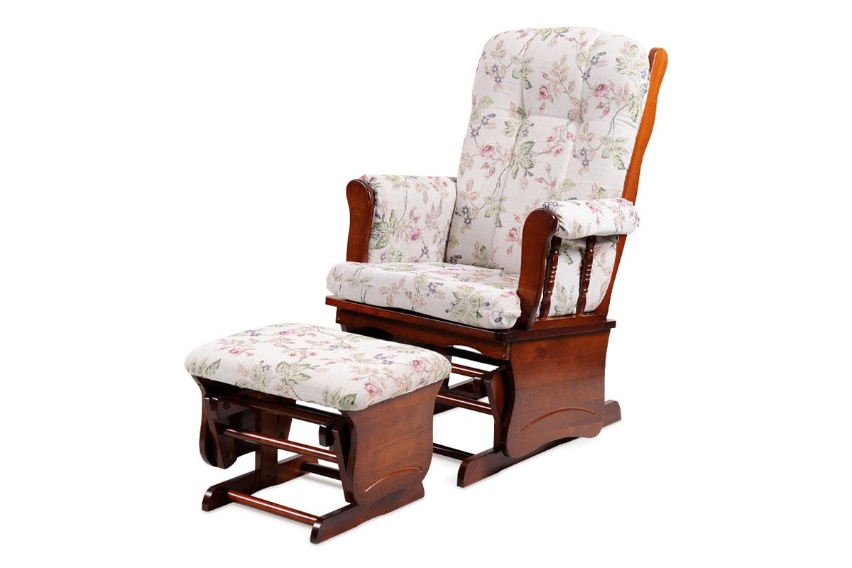 Relaxační / kojící křeslo s houpacím mechanismem (Glider), potah látka s květinovým motivem, masiv, moření ořech