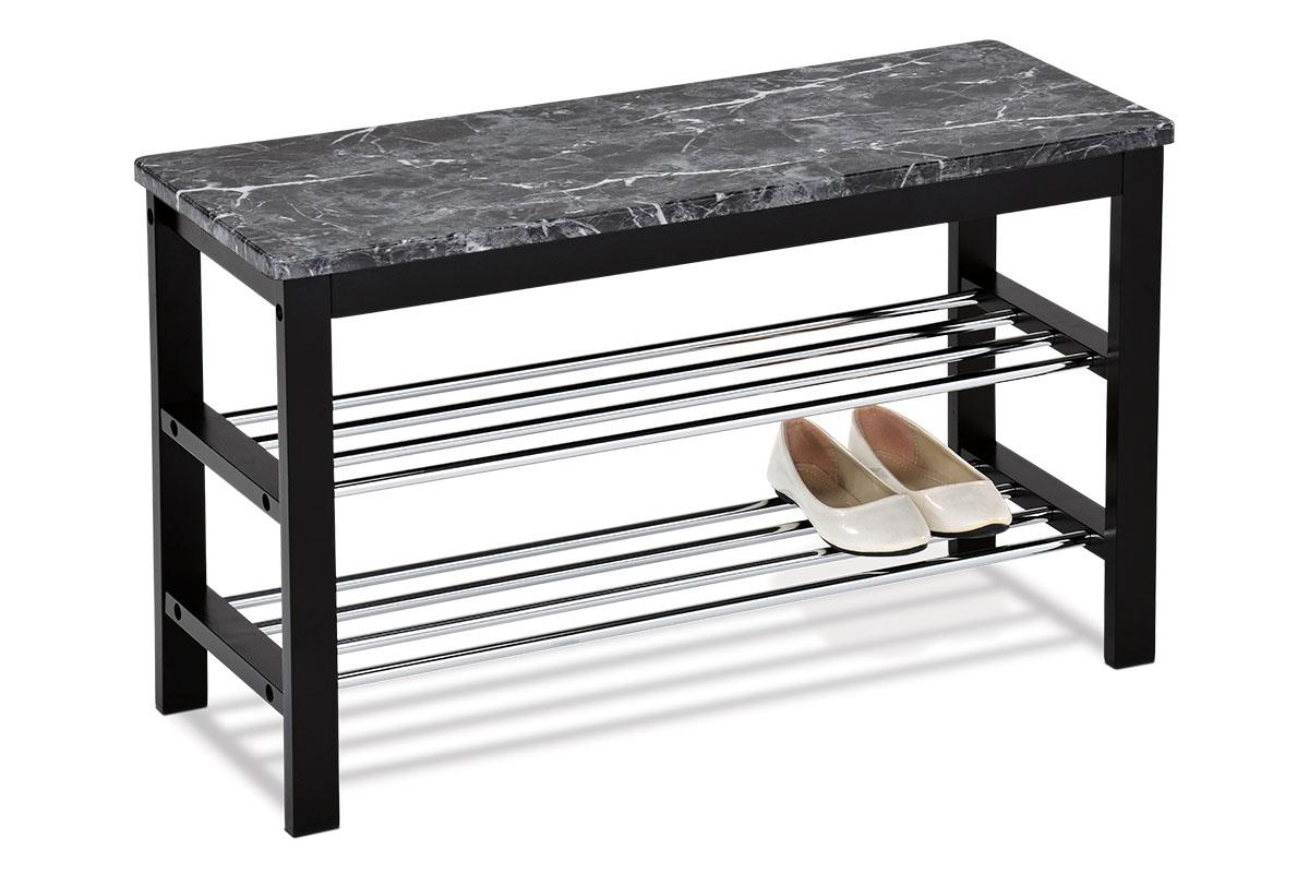 Autronic - Botník / taburet, 2 kovové chromované police, deska MDF v dekoru černý mramor, masiv kaučukovník, černý matný lak - 83168-03 BK