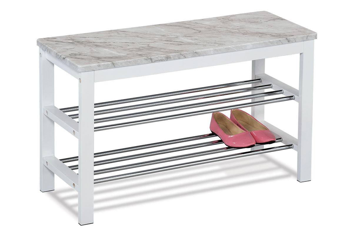 Autronic - Botník / taburet, 2 kovové chromované police, deska MDF v dekoru šedobílý mramor, masiv kaučukovník, bílý matný lak - 83168-03 WT