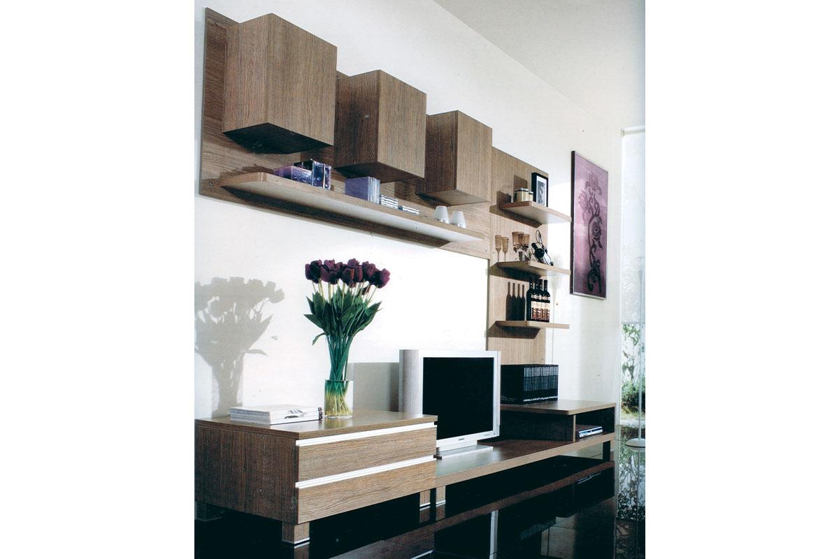 Autronic - Obývací stěna 300x59x210 cm, barva noce - 9HQ05