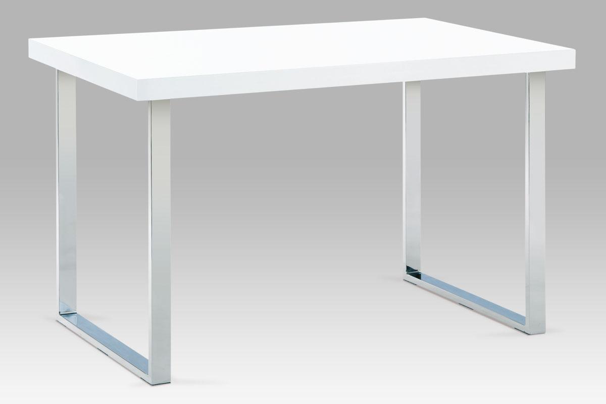 Autronic - Jídelní stůl 120x75 cm, chrom / bílý lesk - A770 WT