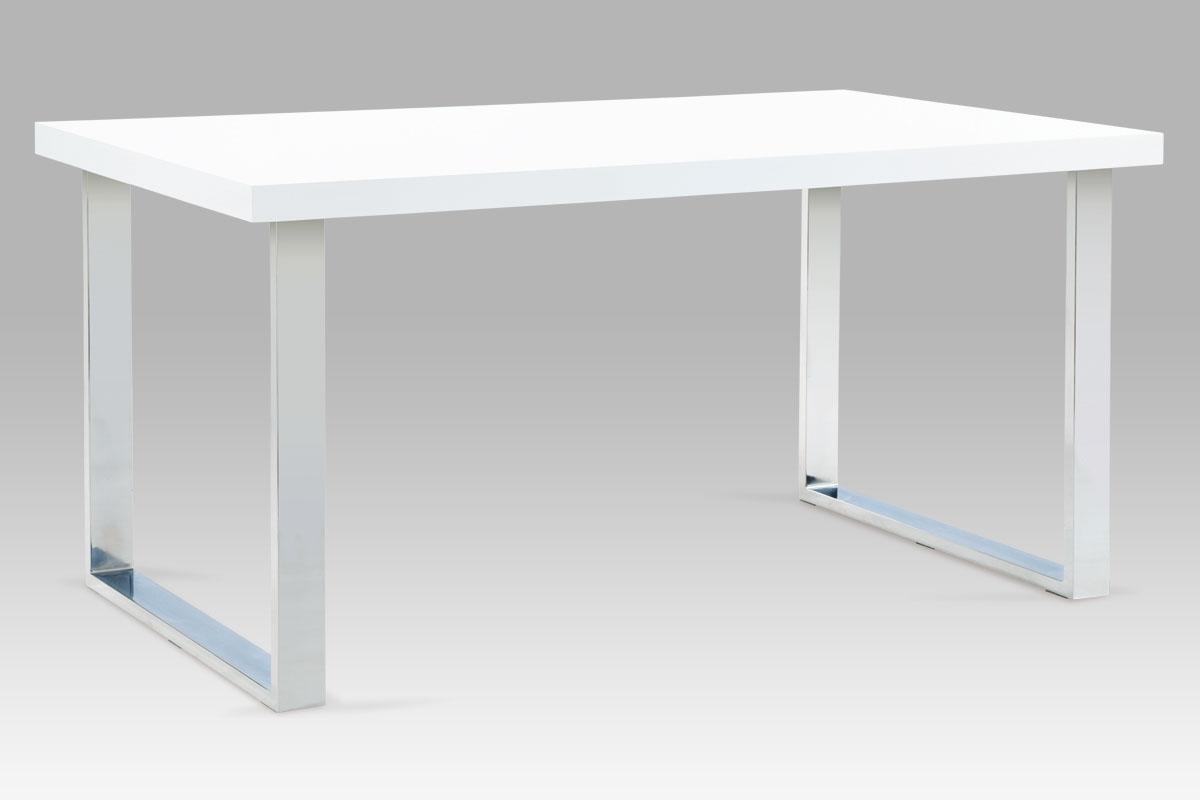 Autronic - Jídelní stůl 150x90 cm, chrom / bílý lesk - A880 WT