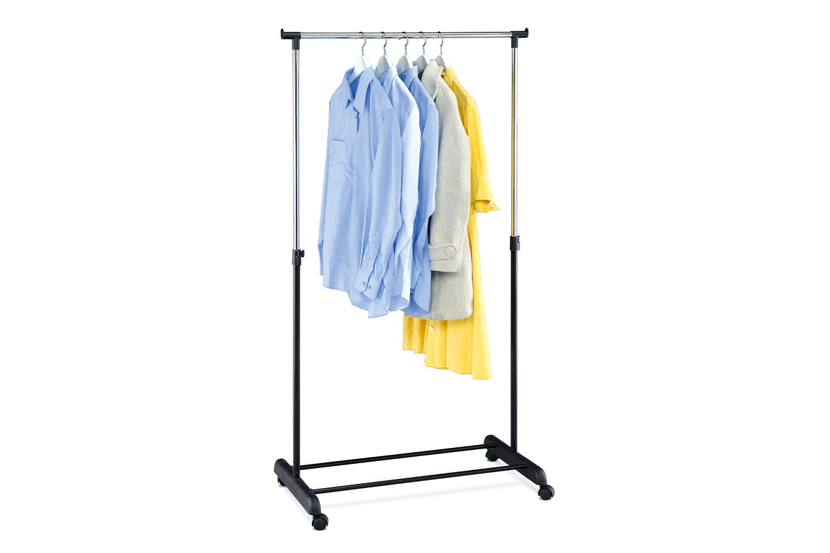 Autronic - Stojan na šaty, černá barva a chrom, kov / plast, pojezd, nosnost 5 kg - ABD-1209 BK