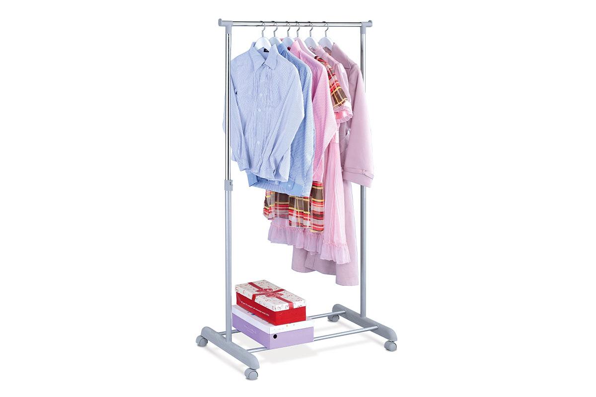 Autronic - Stojan na šaty, šedá barva a chrom, kov / plast, pojezd, nosnost 5 kg - ABD-1209 GREY