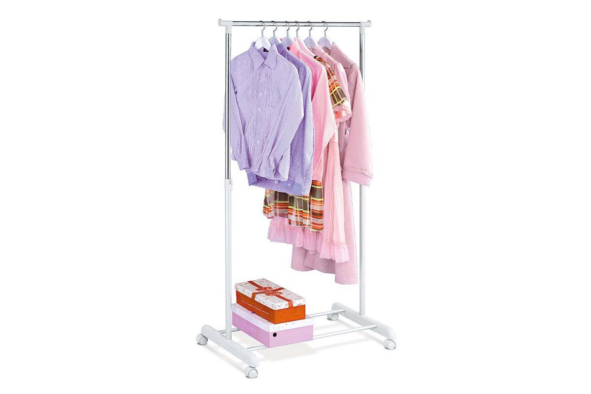 Autronic - Stojan na šaty, bílá barva a chrom, kov / plast, pojezd, nosnost 5 kg - ABD-1209 WT