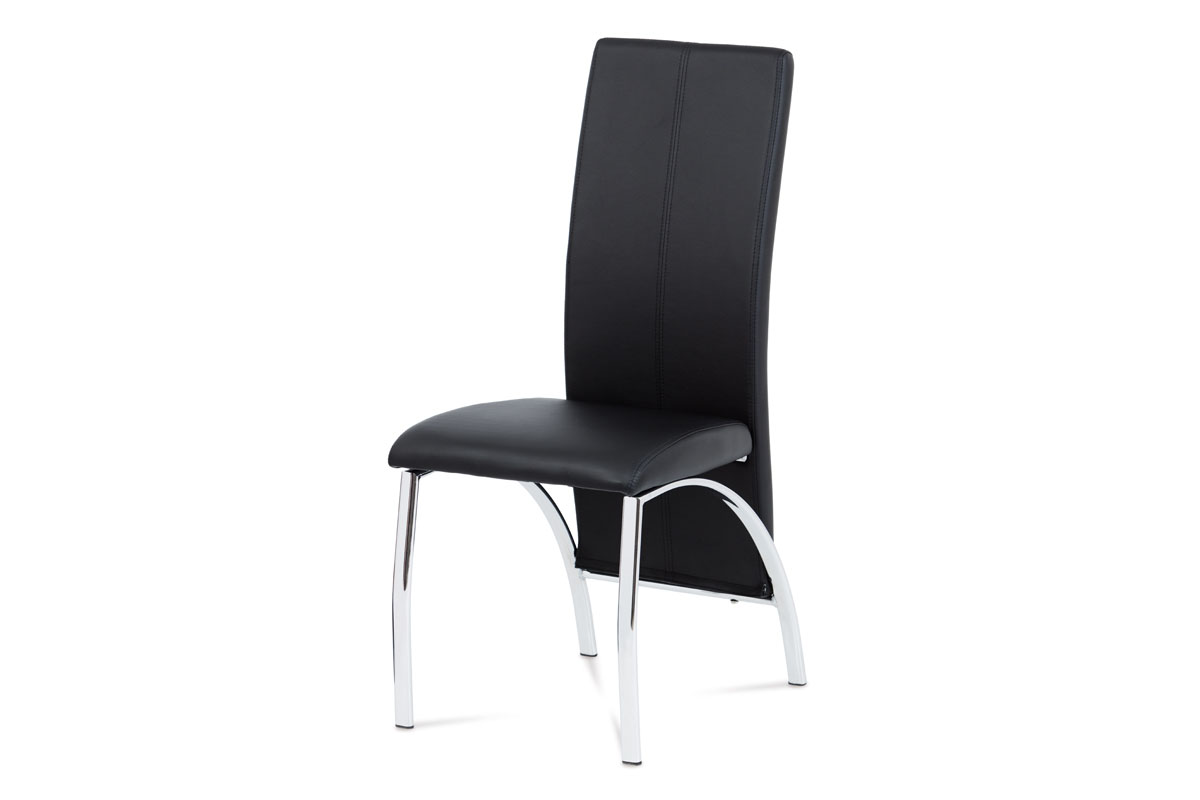 Autronic - Jídelní židle chrom / koženka černá - AC-1060 BK