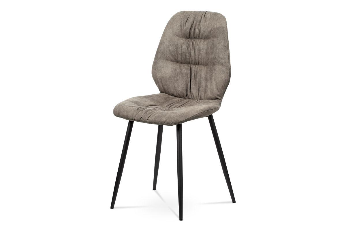 Autronic - Jídelní židle - hnědá látka v dekoru broušené kůže, kovová podnož, černý matný lak - AC-1127 BR3