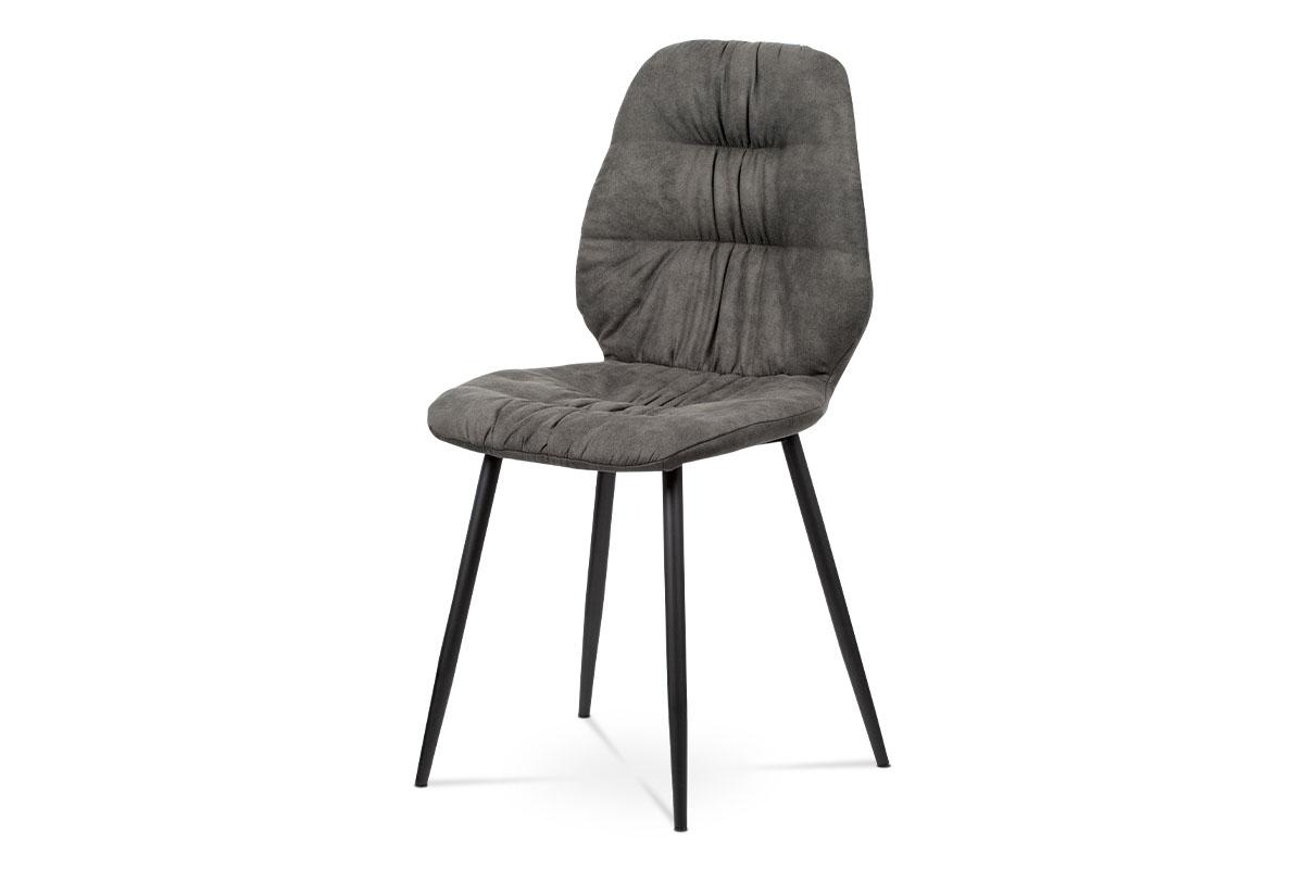 Autronic - Jídelní židle - šedá látka v dekoru broušené kůže, kovová podnož, černý matný lak - AC-1127 GREY3