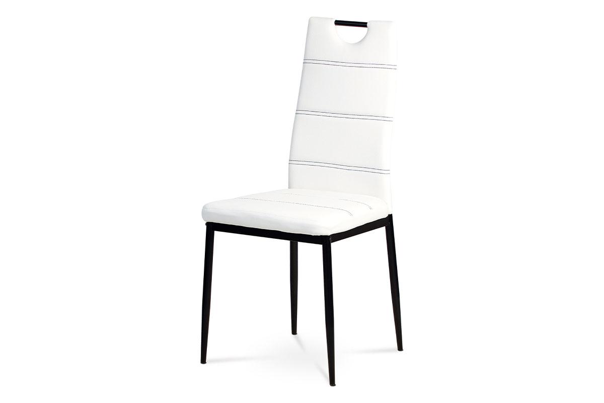 Autronic - Jídelní židle koženka bílá / černý lak - AC-1220 WT