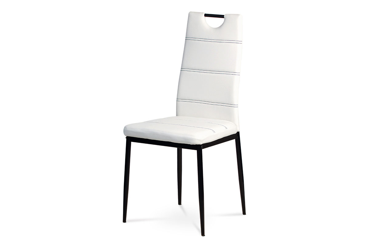 Autronic - Jídelní židle - bílá ekokůže s černým prošitím, kovová podnož, černý matný lak - AC-1220 WT