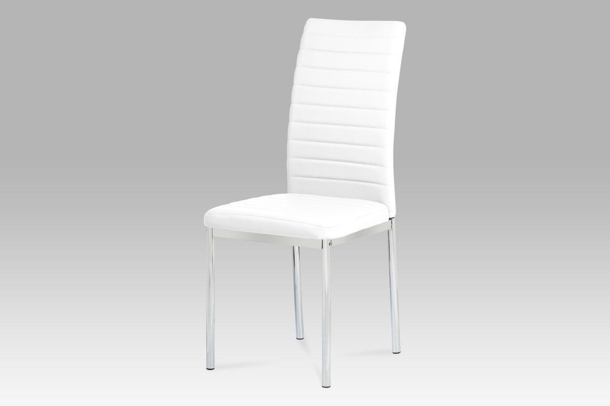 Autronic - Jídelní židle koženka bílá / chrom - AC-1285 WT