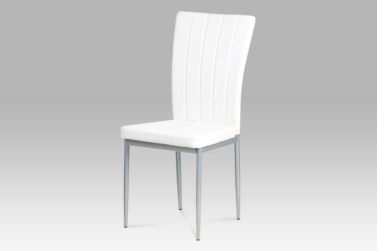 Autronic - Jídelní židle koženka bílá / šedý lak - AC-1287 WT
