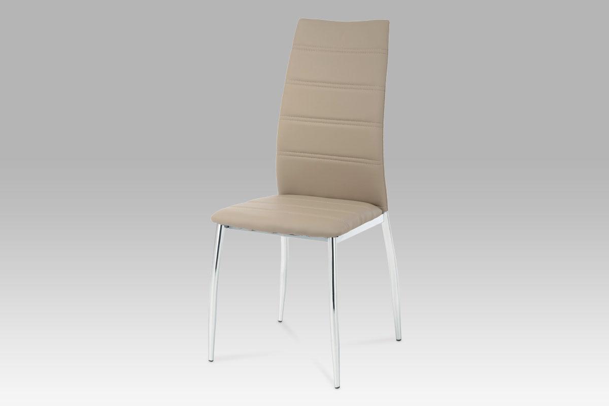 Autronic - Jídelní židle chrom / koženka cappuccino - AC-1295 CAP