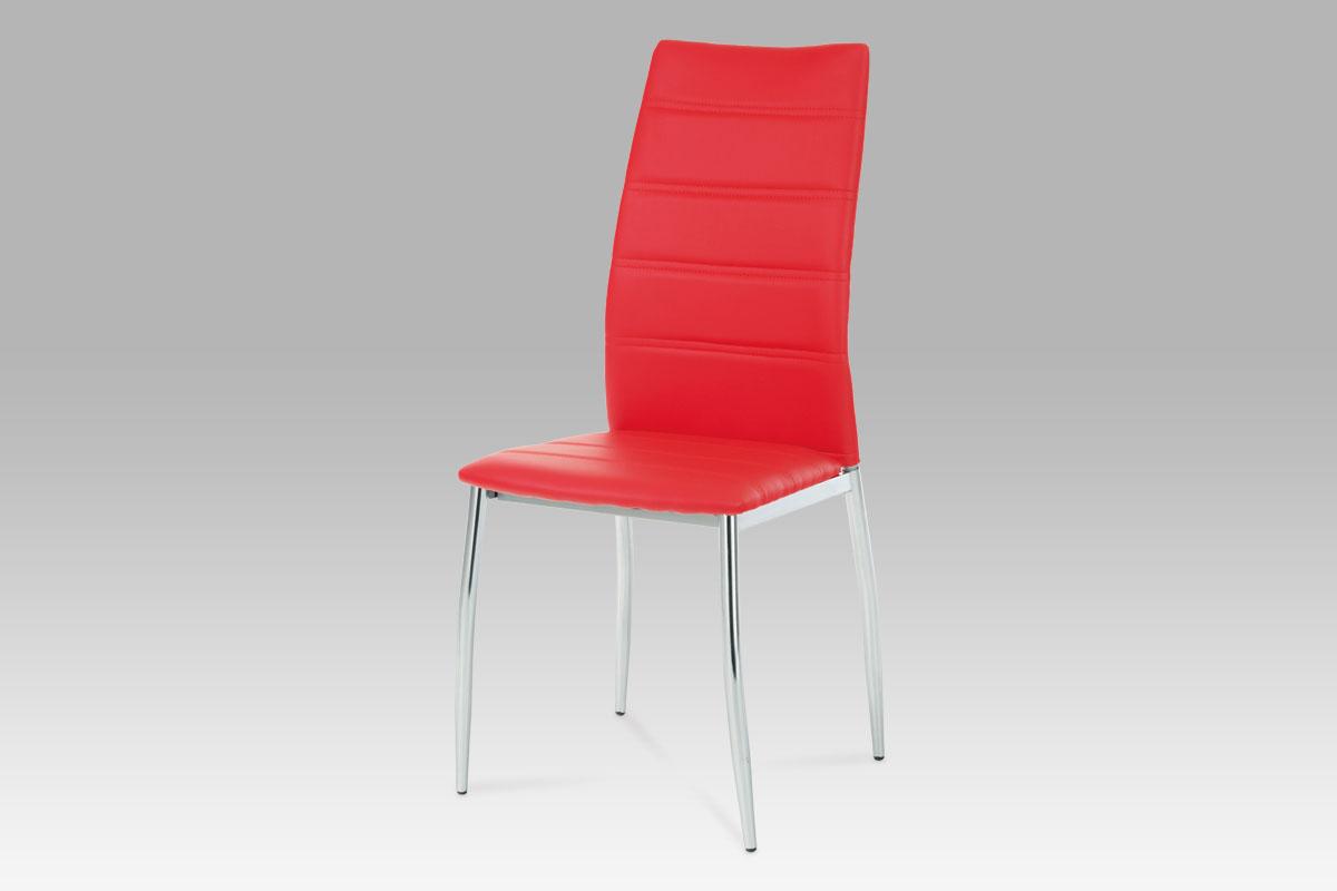 Autronic - Jídelní židle chrom / koženka červená - AC-1295 RED