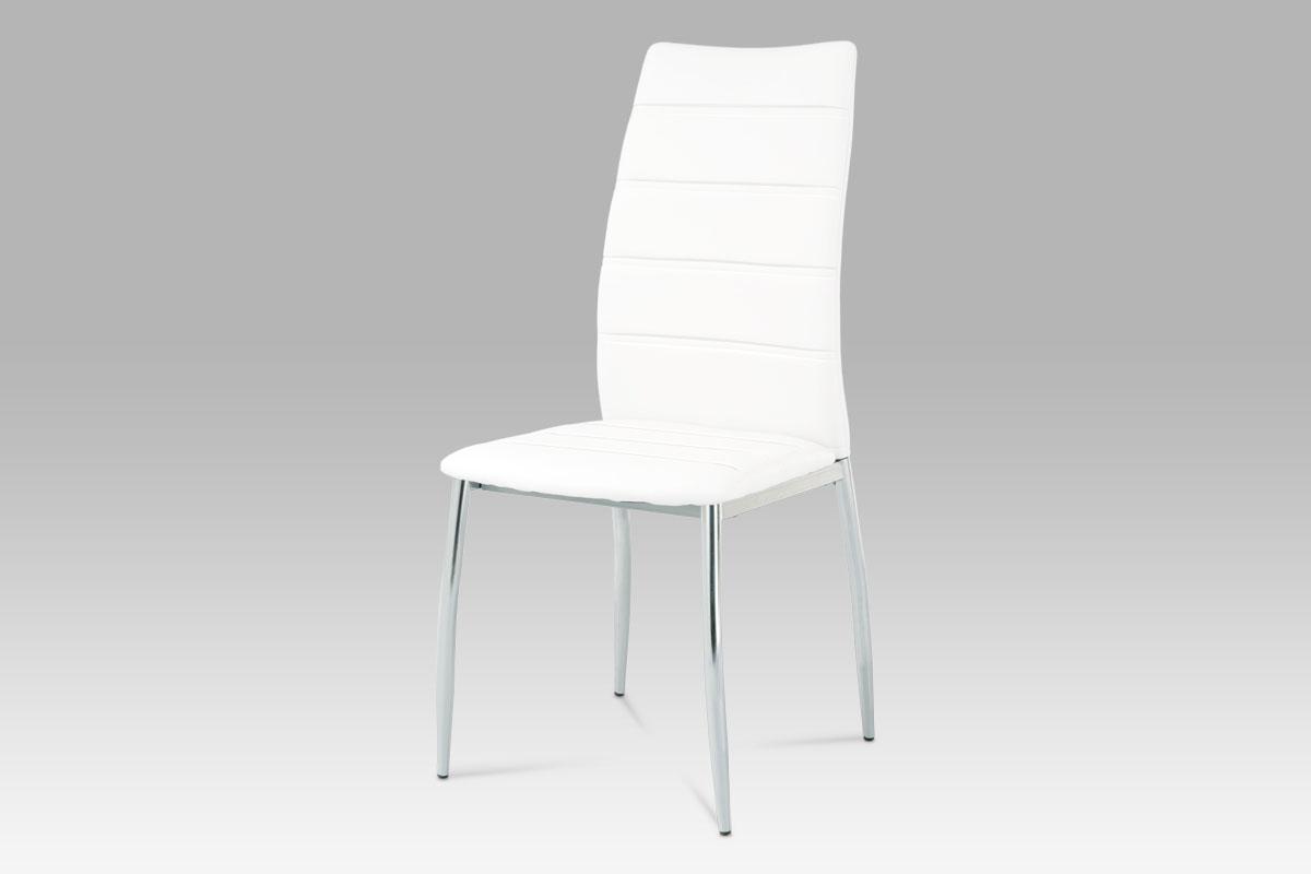Autronic - Jídelní židle chrom / koženka bílá - AC-1295 WT