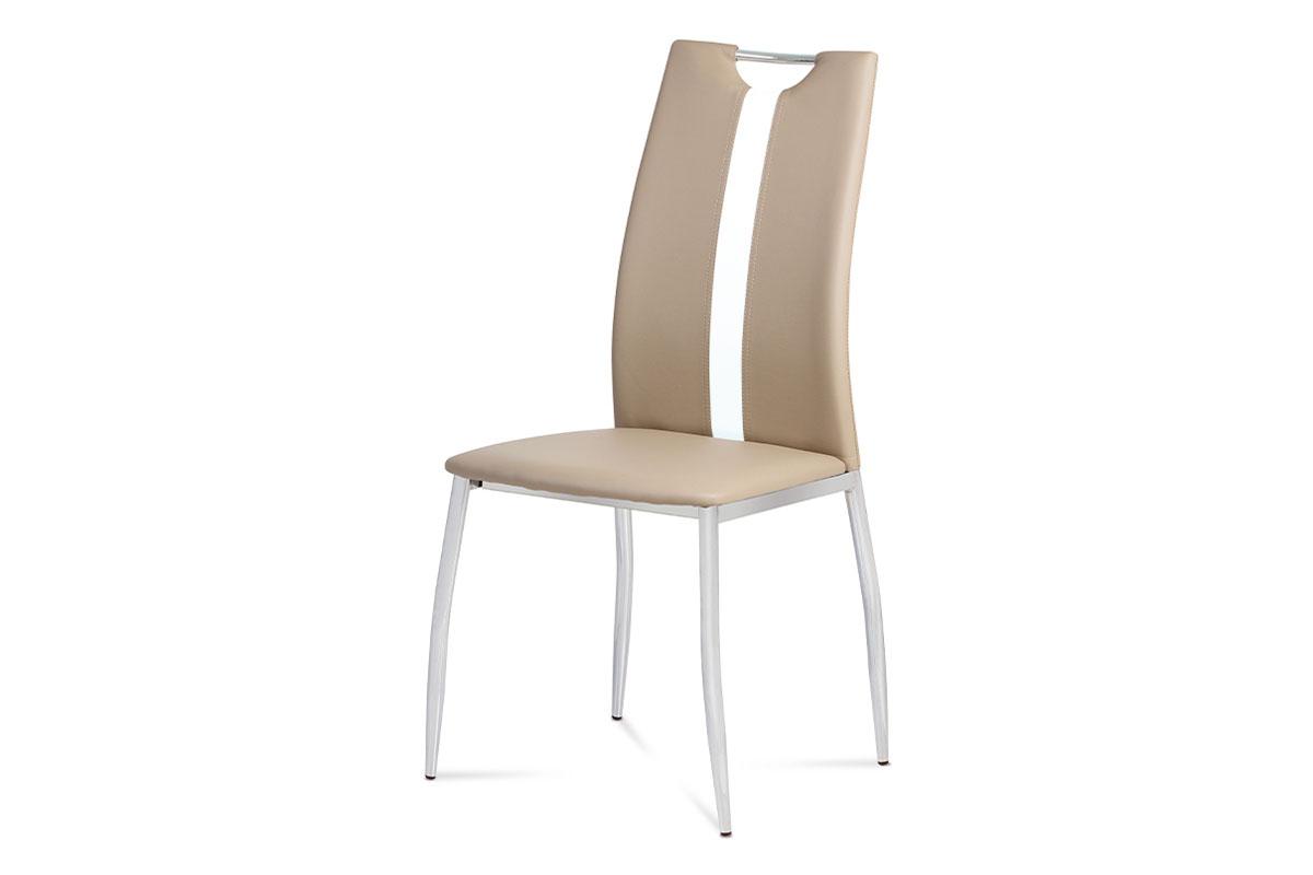Autronic - Jídelní židle koženka cappuccino / chrom - AC-1296 CAP