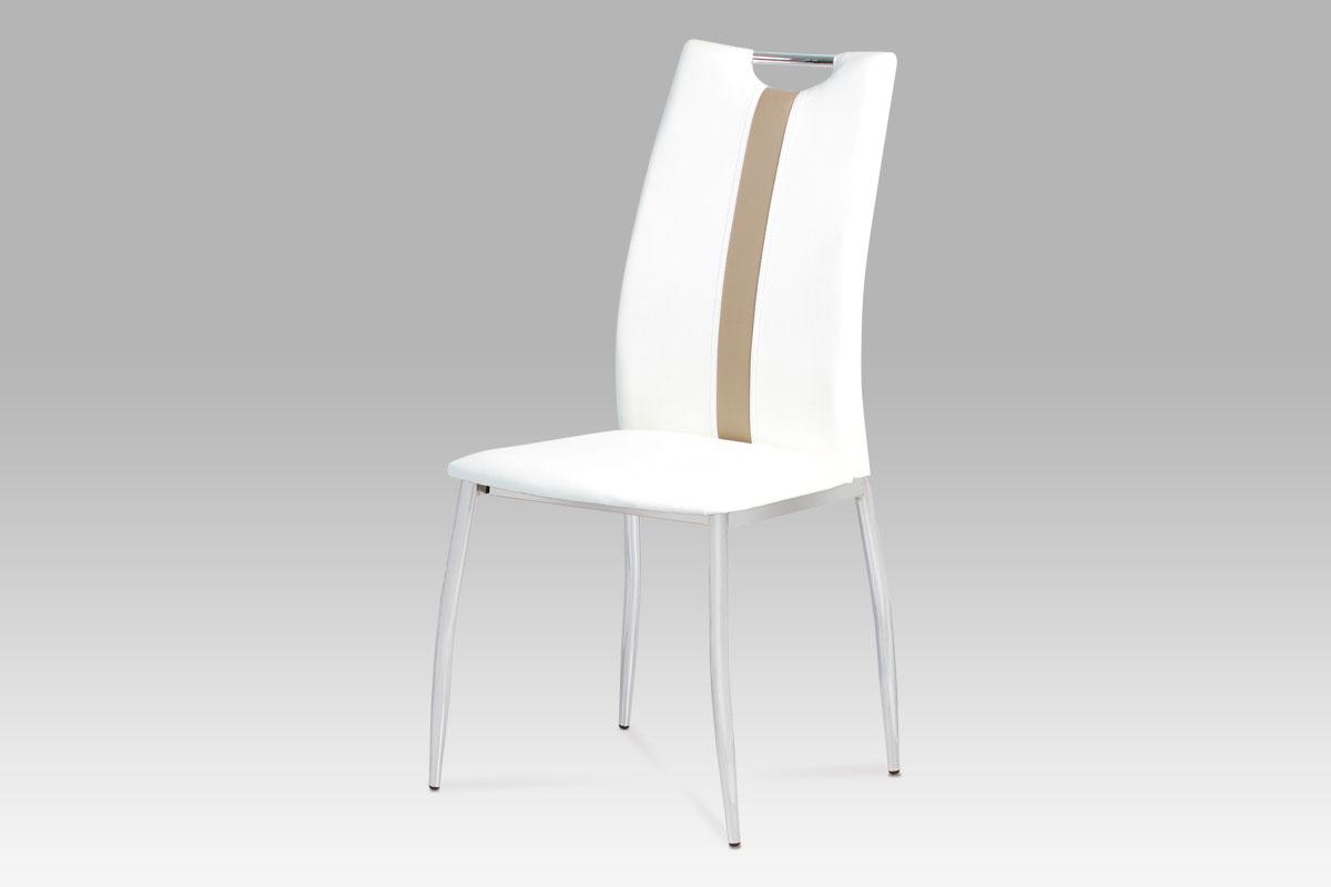 Autronic - Jídelní židle koženka bílá / chrom - AC-1296 WT