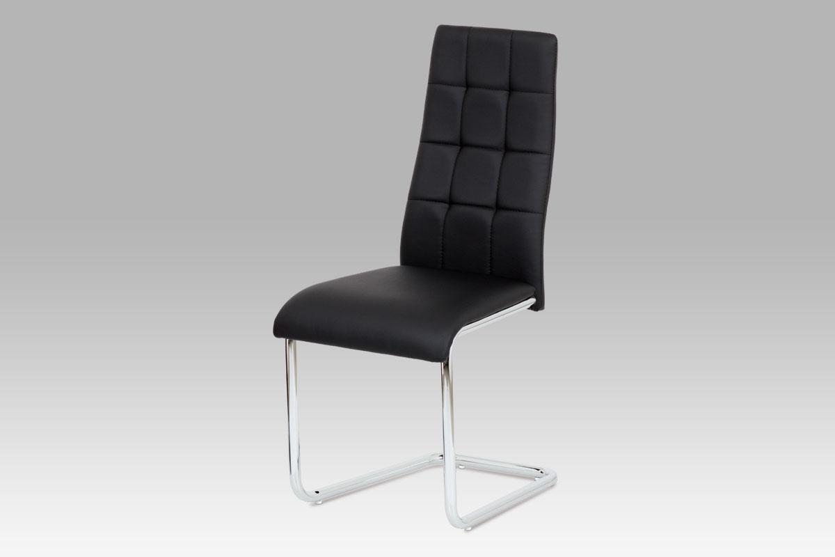 Autronic - Jídelní židle černá koženka / chrom - AC-1620 BK