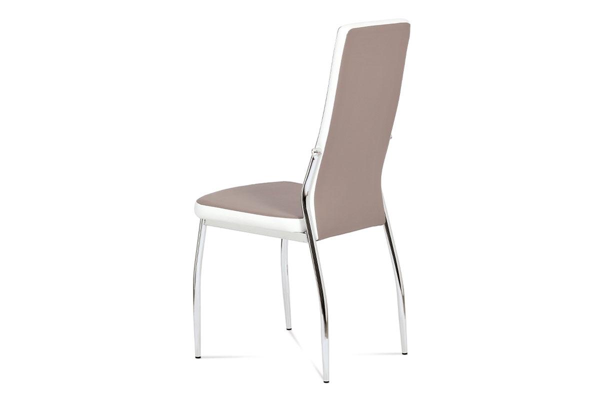 Jídelní židle koženka lanýž + bílá - AC-1693 LAN