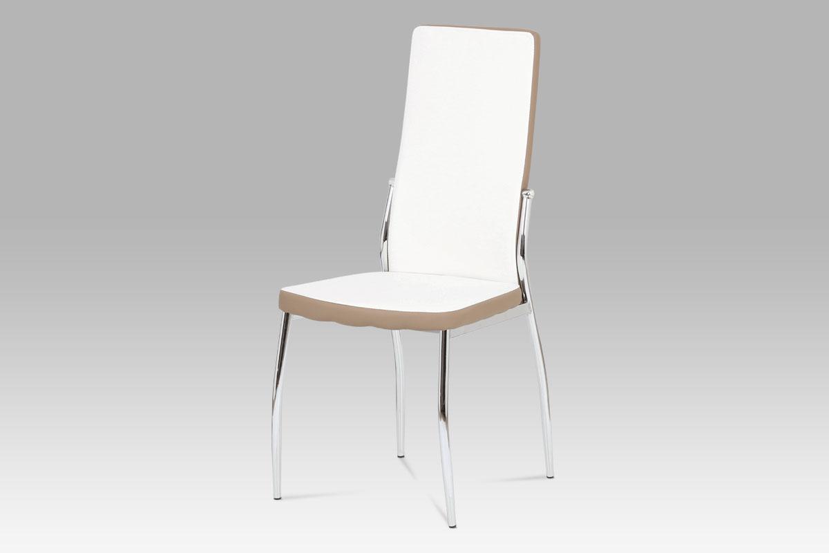 Autronic - Jídelní židle koženka bílá + cappucino - AC-1693 WT