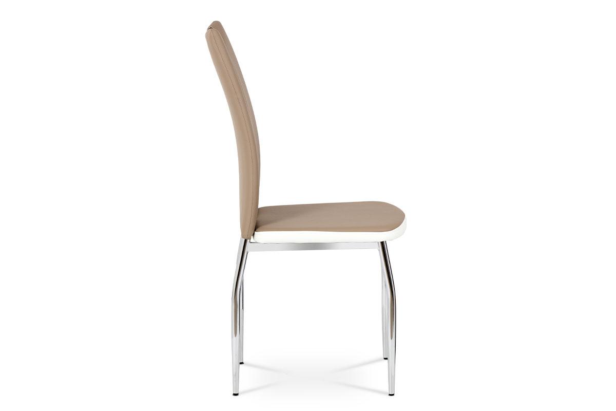 Jídelní židle, potah kombinace cappucino a bílé ekokůže, kovová čtyřnohá chromov - AC-2202 CAP