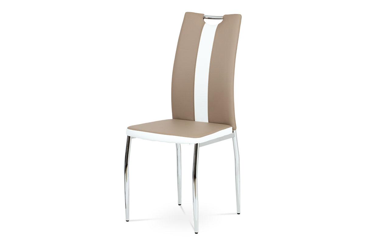 Autronic - Jídelní židle koženka cappuccino + bílá / chrom - AC-2202 CAP