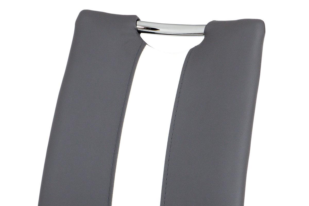 Jídelní židle, potah kombinace šedé a bílé ekokůže, kovová čtyřnohá chromovaná p - AC-2202 GREY