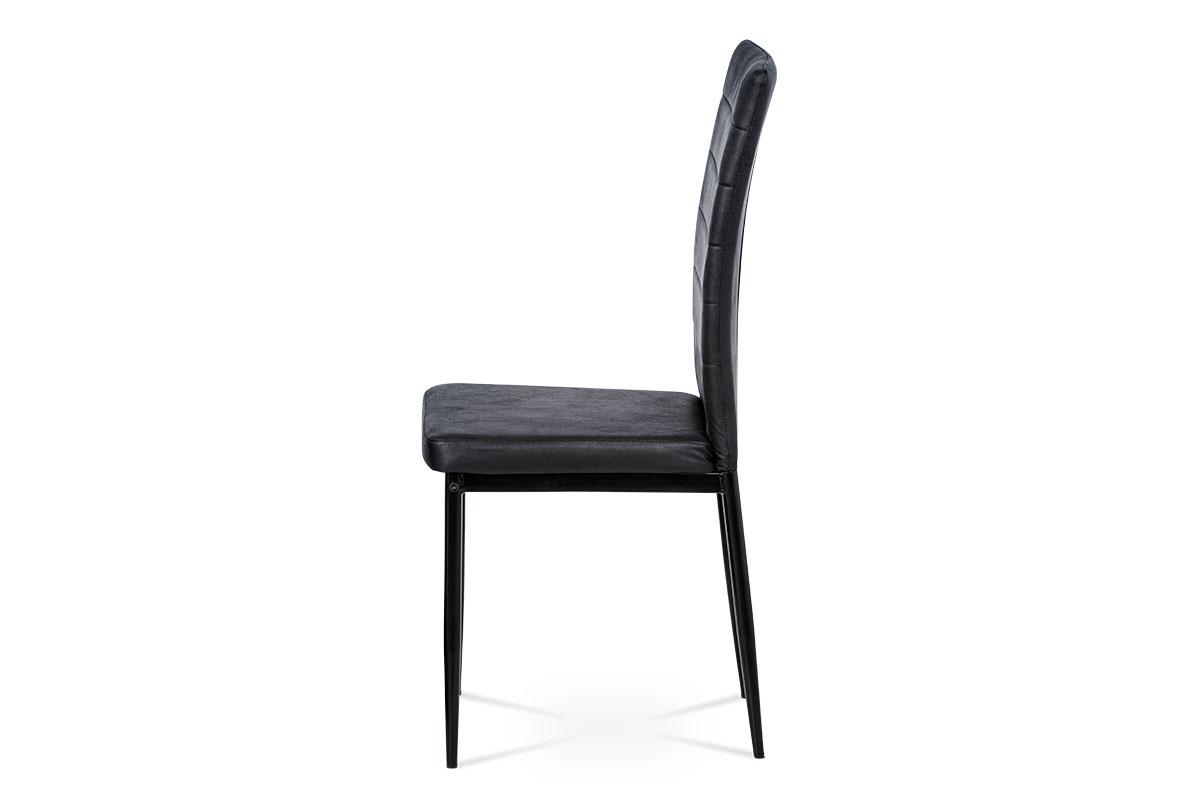 Jídelní židle, černá látka imitace broušené kůže, kov černý mat - AC-9910 BK3