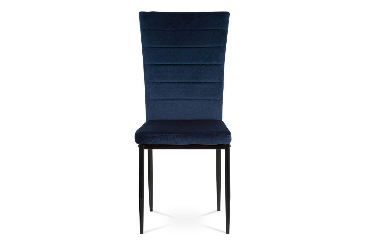 Jídelní židle, modrá látka samet, kov černý mat - AC-9910 BLUE4