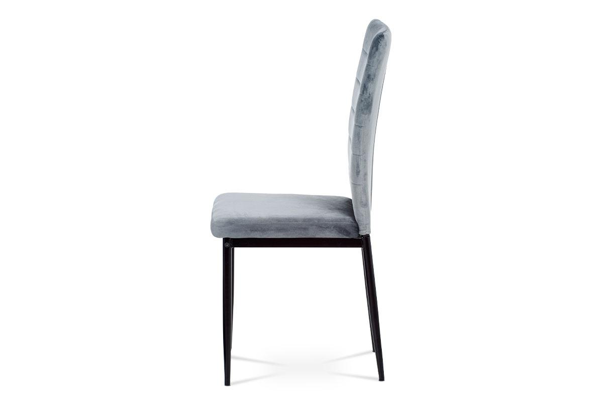 Jídelní židle, šedá látka samet, kov černý mat - AC-9910 GREY4
