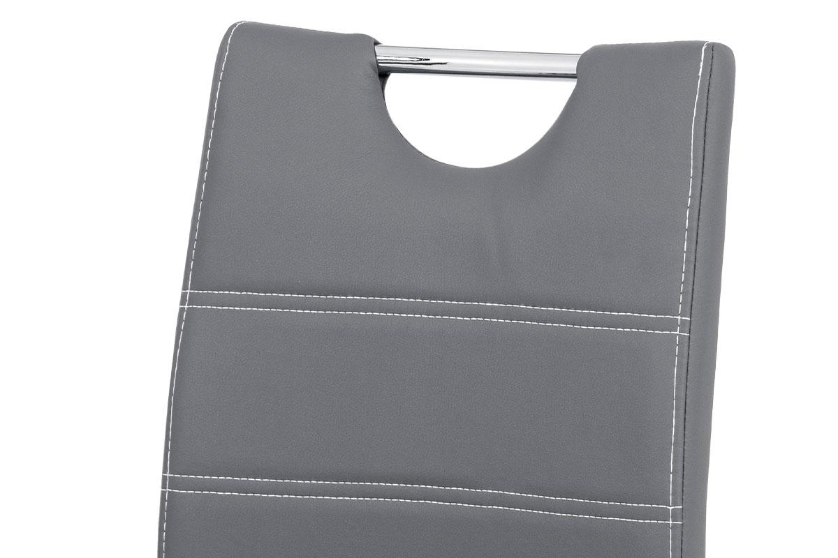 Jídelní židle - šedá ekokůže s bílým prošitím, kovová čtyřnohá podnož - AC-9920 GREY