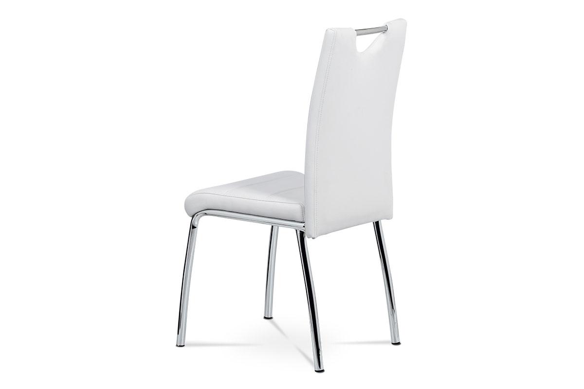 Jídelní židle - bílá ekokůže s bílým prošitím, kovová čtyřnohá podnož - AC-9920 WT