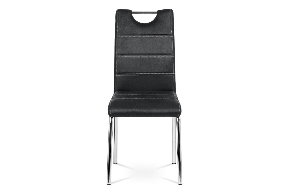 Jídelní židle - černá látka v dekoru broušené kůže, kovová čtyřnohá podnož - AC-9930 BK3