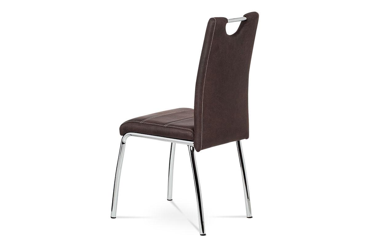 Jídelní židle - hnědá látka v dekoru broušené kůže, kovová čtyřnohá podnož - AC-9930 BR3
