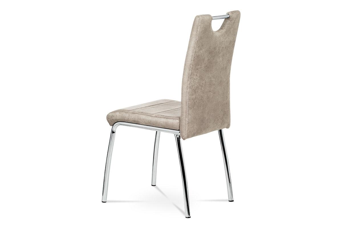 Jídelní židle - lanýžová látka v dekoru broušené kůže, kovová čtyřnohá podnož - AC-9930 LAN3