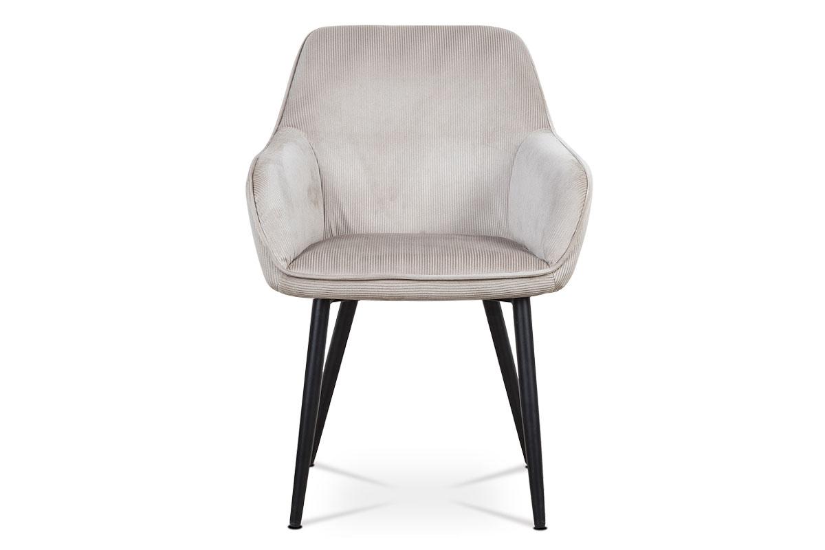 Jídelní a konferenční židle, potah lanýžová manšestrová látka, kovové nohy - čer - AC-9980 LAN2