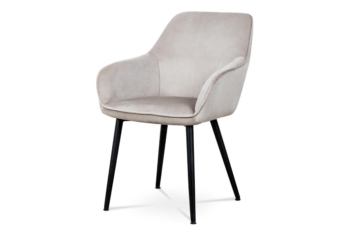 Autronic - Jídelní a konferenční židle, potah lanýžová manšestrová látka, kovové nohy - černý lak - AC-9980 LAN2