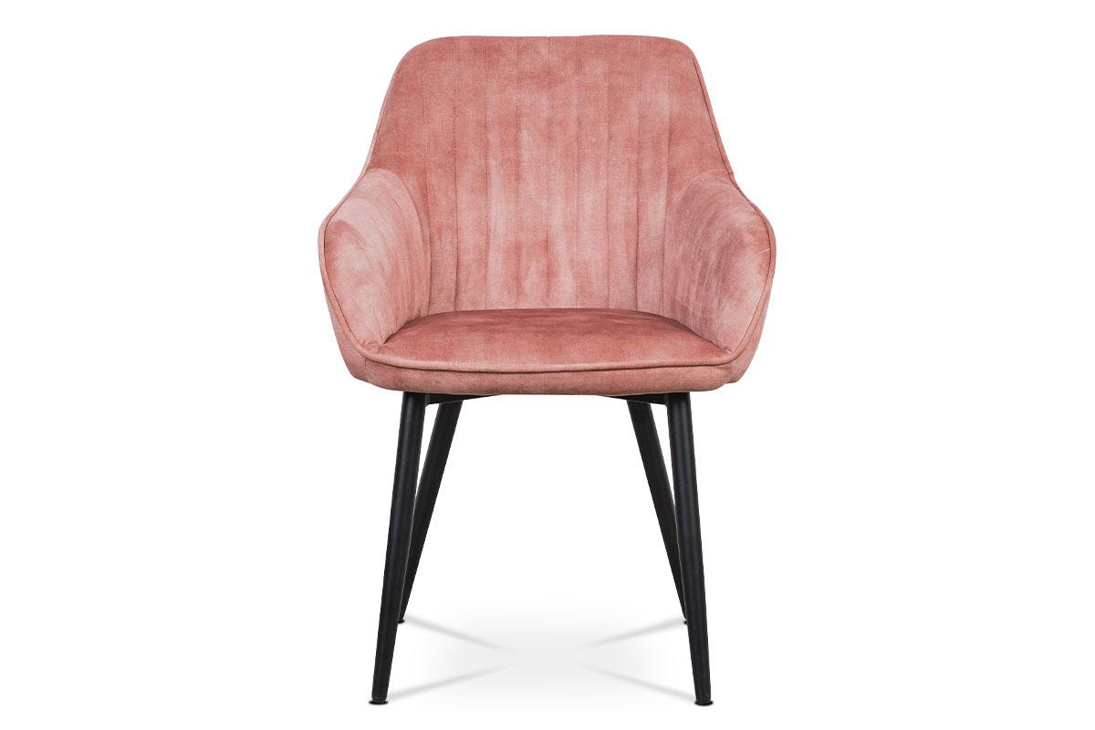 Jídelní a konferenční židle, potah růžová látka v dekoru žíhaného sametu kovové - AC-9981 PINK4