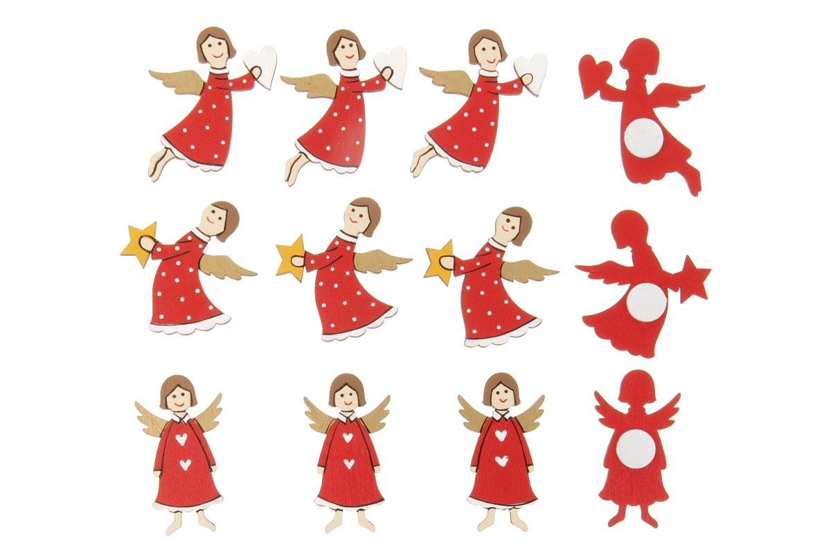 Andělíčci, dekorace dřevěná na přilepení, v sáčku 12 kusů, cena za 1 sáček