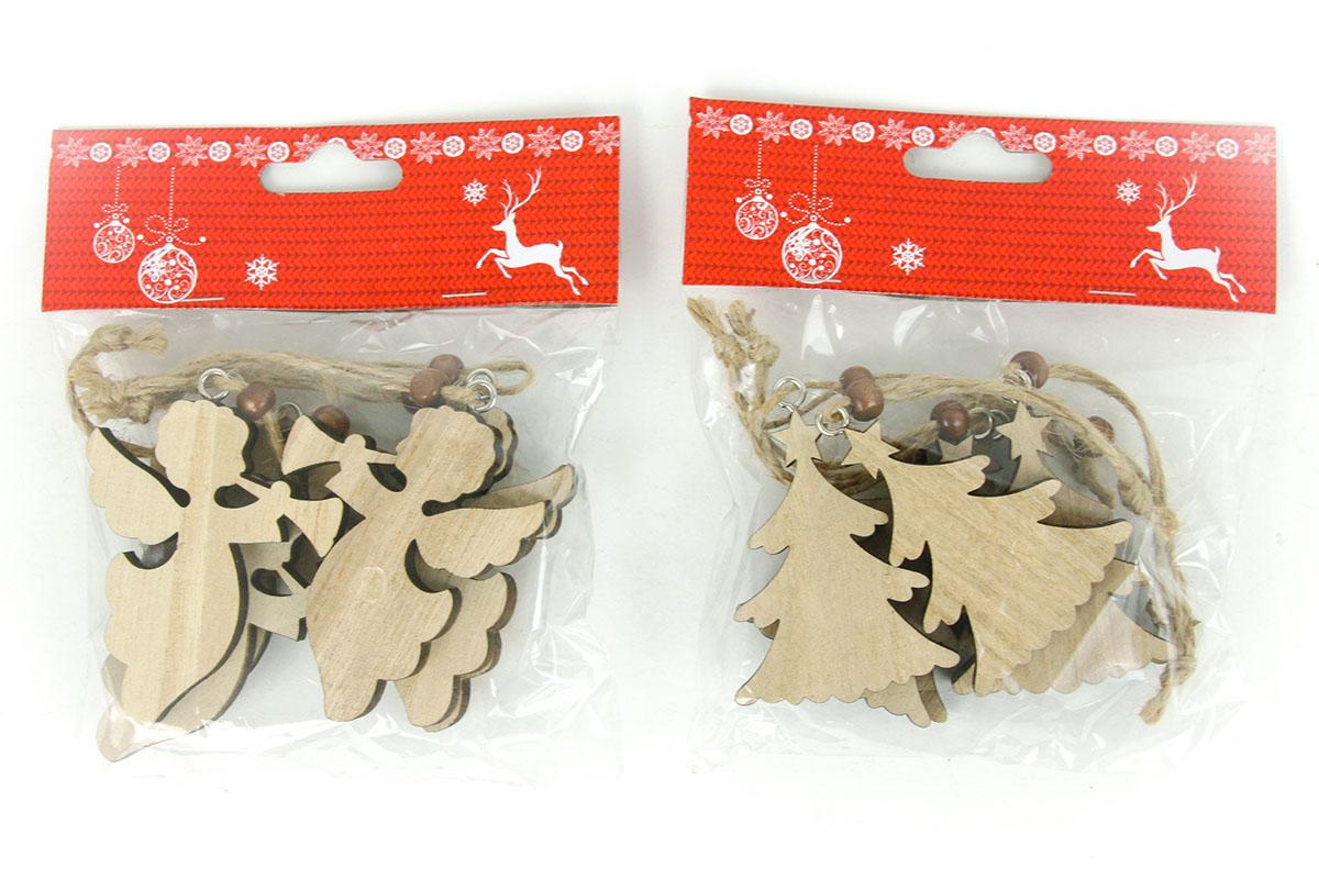 Andělíček nebo stromeček, vánoční dřevěná dekorace na pověšení, 6 kusů v sáčku,