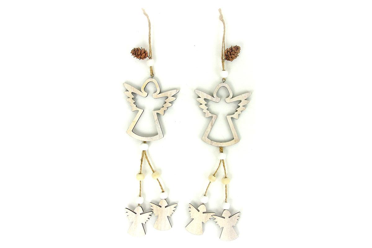 Andělíček , vánoční dřevěná dekorace na pověšení, barva natural,  2 kusy v sáčku