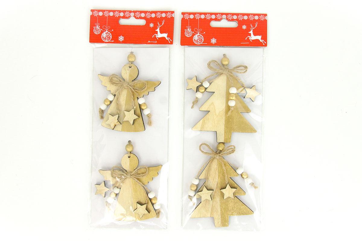 Andělíček nebo stromeček,  vánoční dřevěná dekorace, 2 kusy v sáčku, cena za 1 s