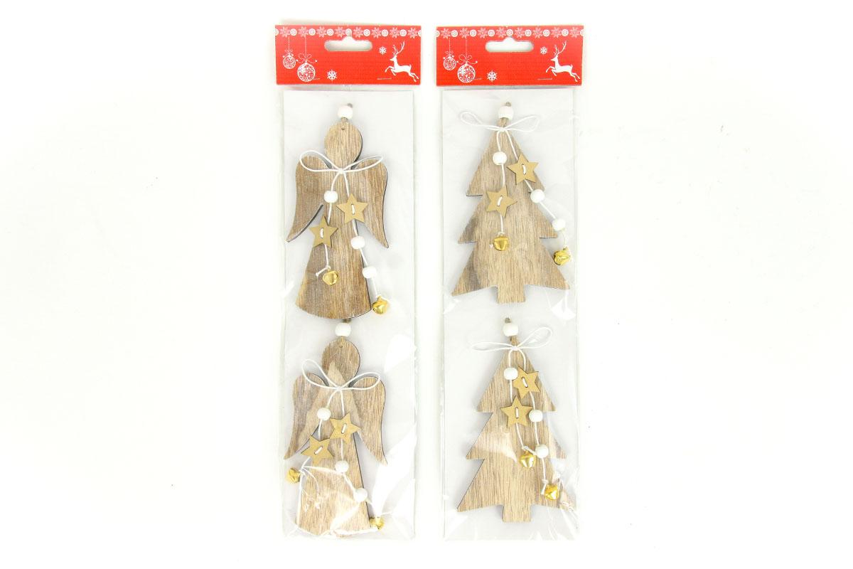 Andělíček nebo stromeček, vánoční dřevěná dekorace s rolničkami, 2 kusy v sáčku,