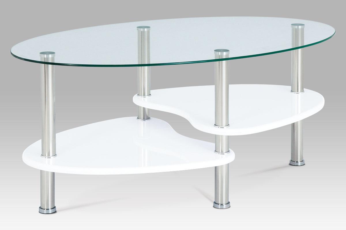 Autronic - Konferenční stolek, sklo / police vysoký lesk bílý / leštěný nerez - ACT-007 WT1