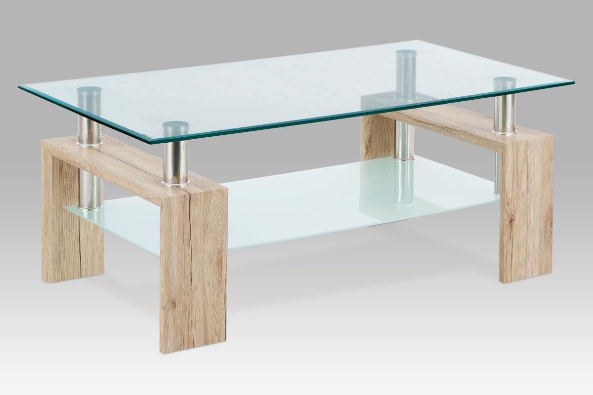 Autronic - Konferenční stolek 110x60x45 cm, san remo / čiré sklo 8 mm / polička - mléčné sklo 6 mm, - AF-1024 SRE
