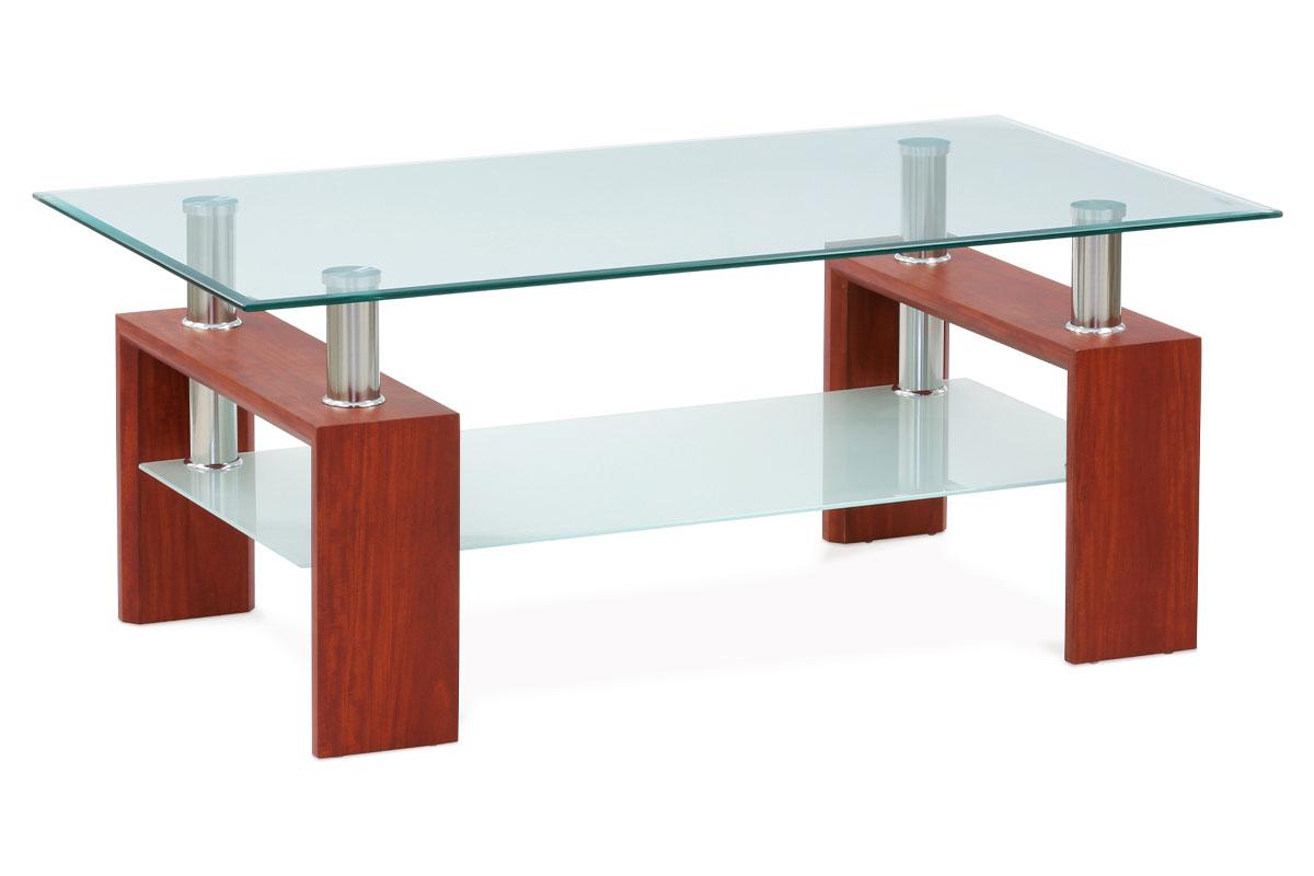 Autronic - Konferenční stolek 110x60x45 cm, třešeň / čiré sklo 8 mm - AF-1024 TR2