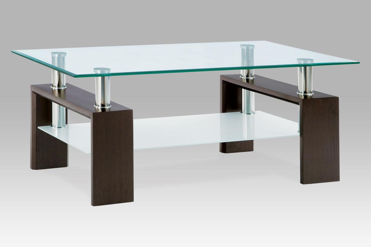 Autronic - Konferenční stolek 110x60x45 cm, ořech / čiré sklo 8 mm - AF-1024 WAL