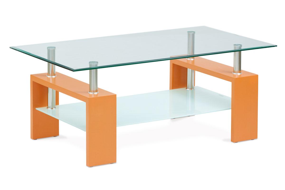 Autronic - Konferenční stolek 110x60x45 cm, oranžová / čiré sklo 8 mm - AF-2024 ORA