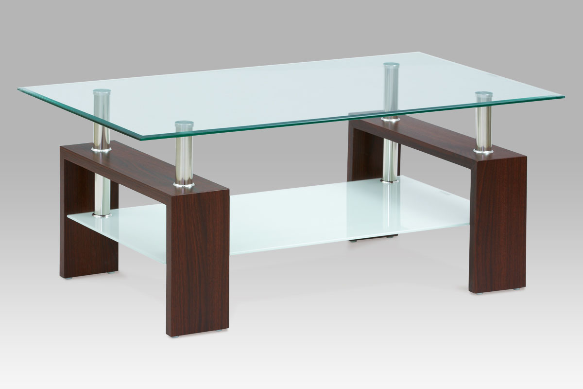 Autronic - Konferenční stolek 110x60x45 cm, ořech / čiré sklo 8 mm - AF-2024 WAL